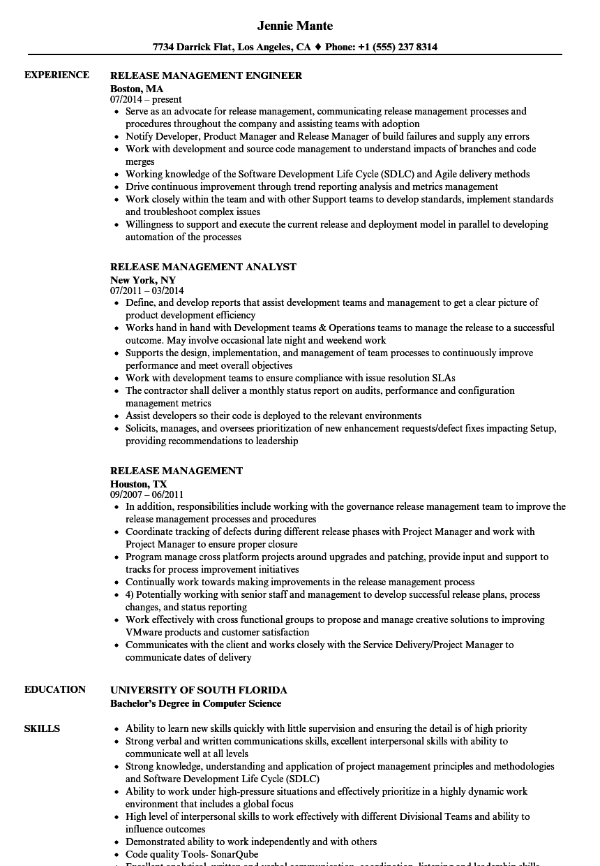 Release Management Resume Samples Velvet Jobs