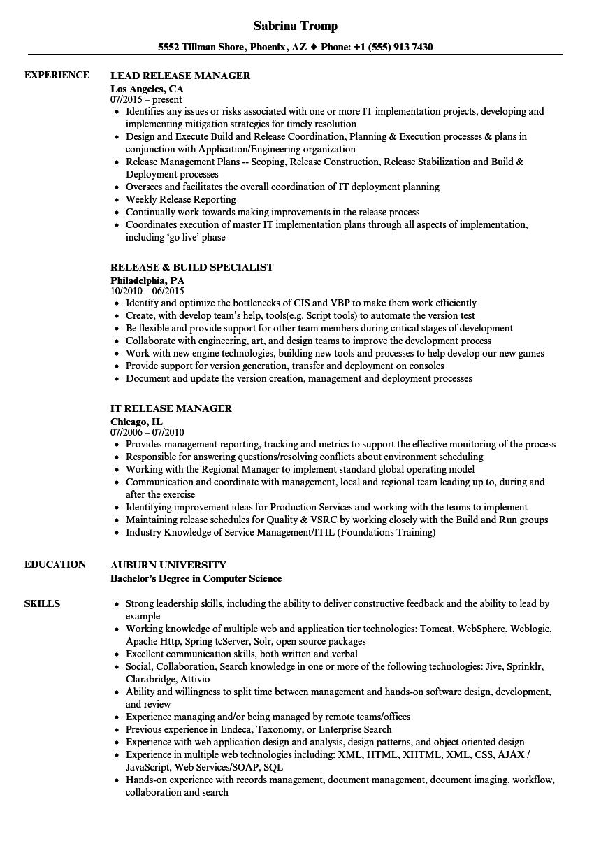 release resume samples