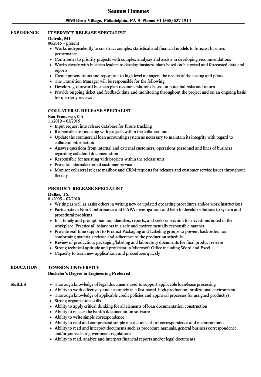release specialist resume samples