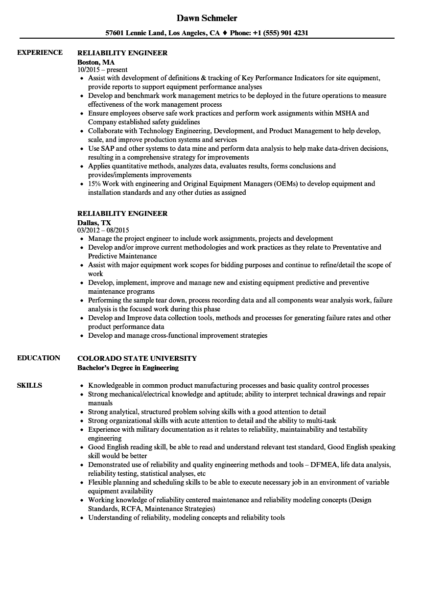 Beautiful Velvet Jobs Within Reliability Engineer Resume