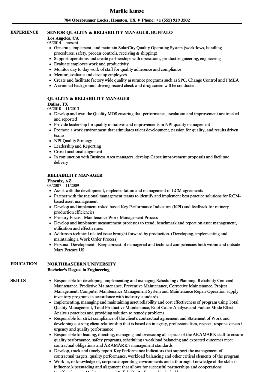 Reliability Manager Resume Samples | Velvet Jobs