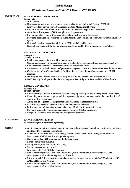 remedy developer resume samples