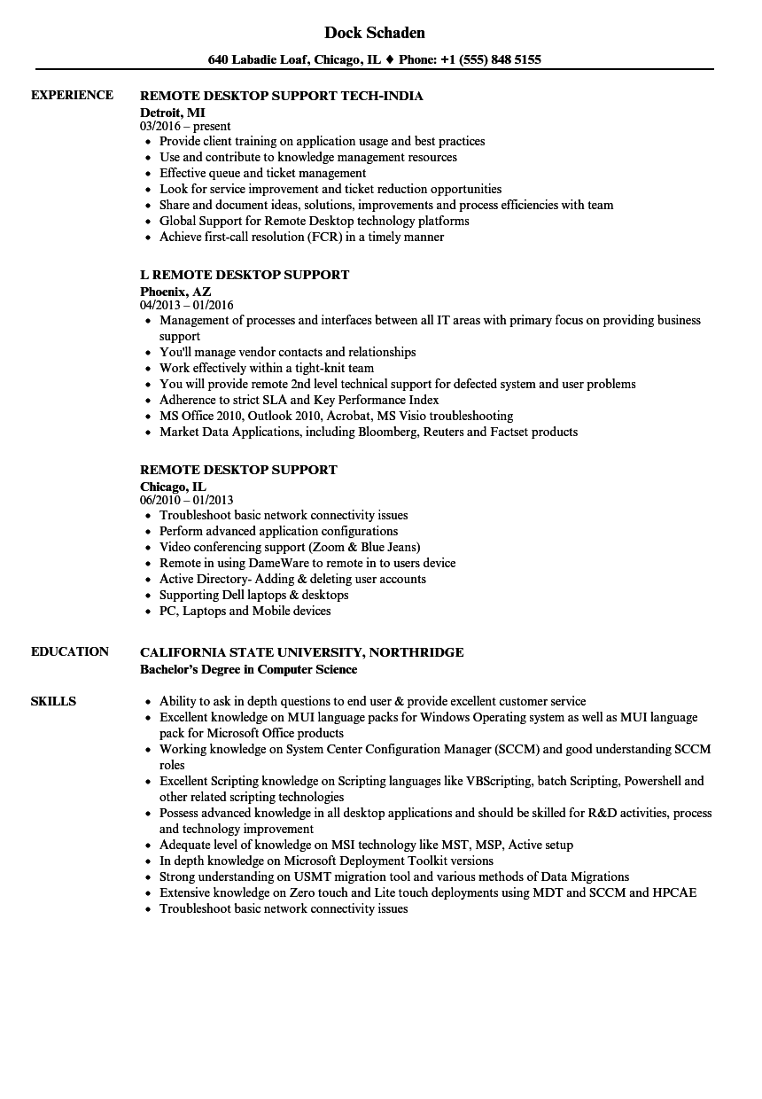 remote desktop support resume samples