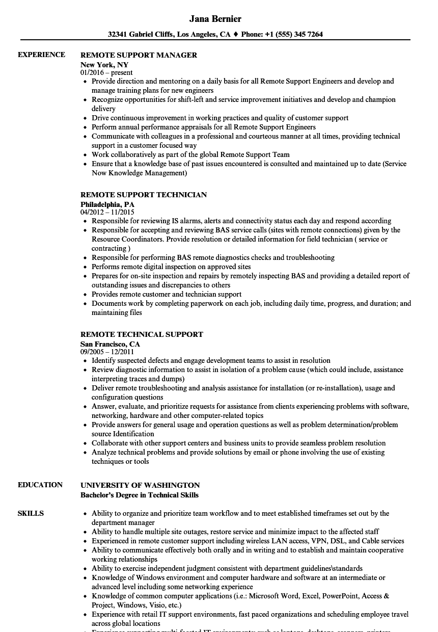 Remote Support Resume Samples | Velvet Jobs