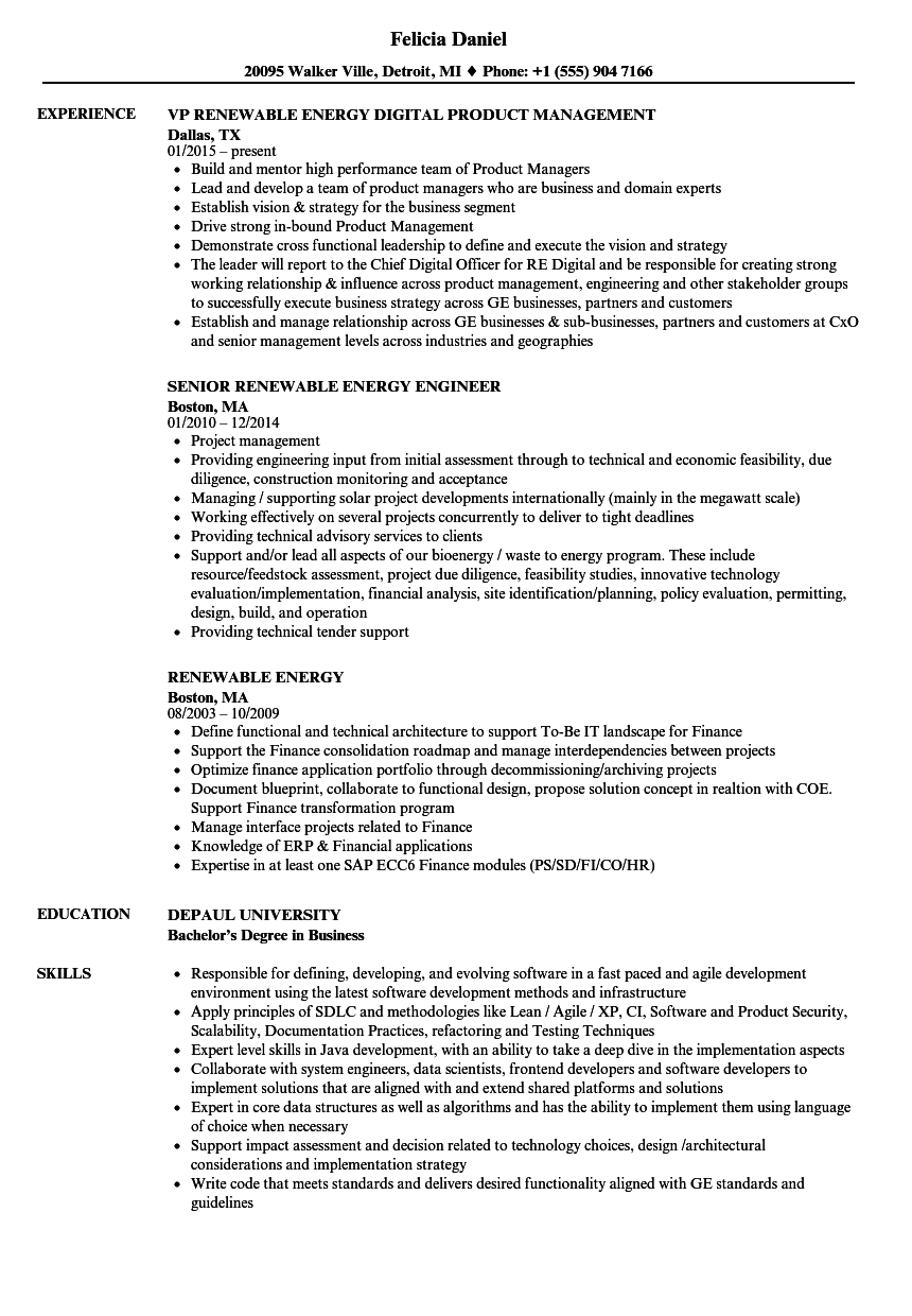 Renewable Energy Resume Samples | Velvet Jobs