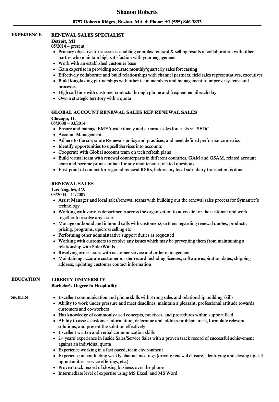 renewal sales resume samples