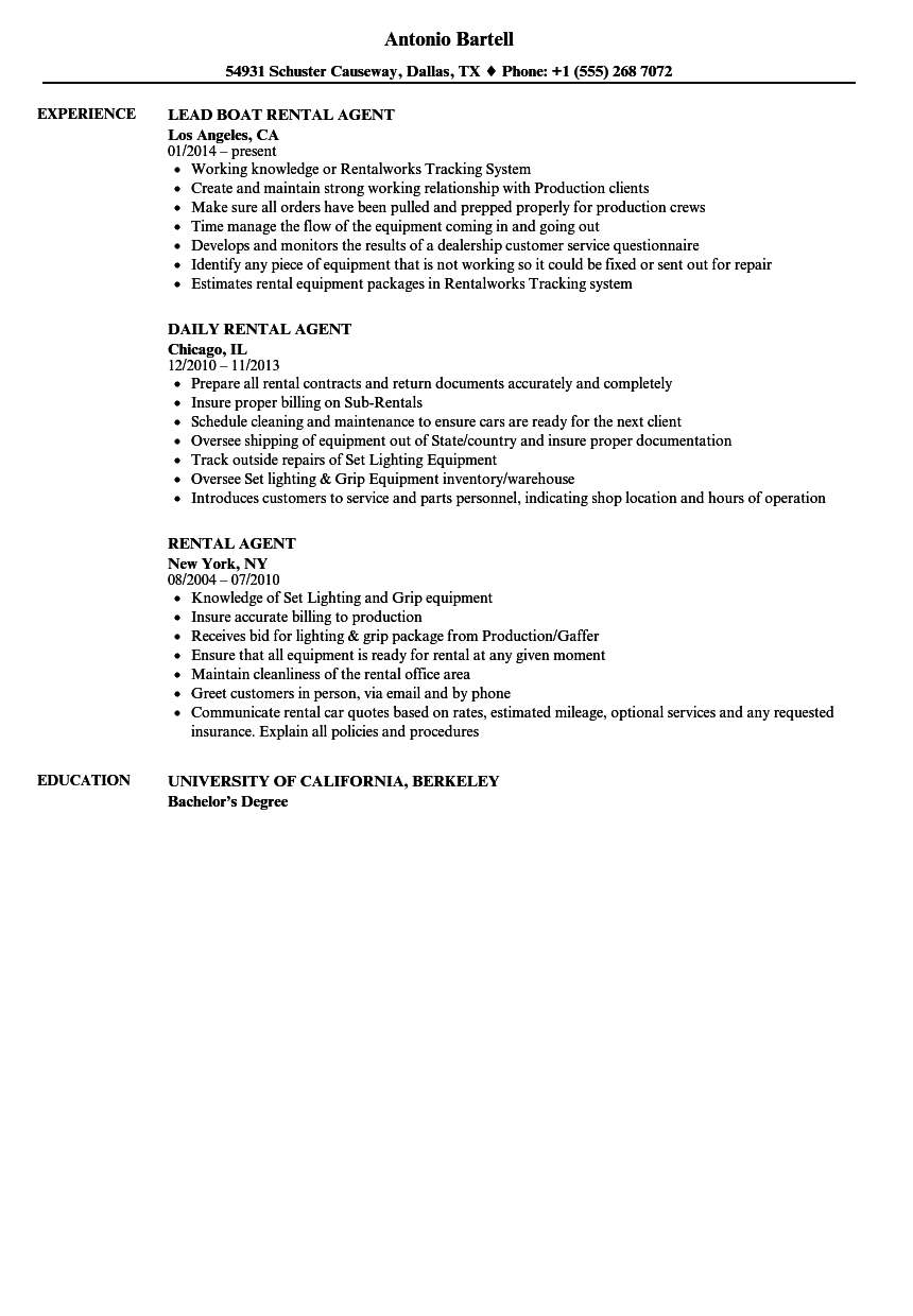 Rental Agent Resume Samples   Velvet