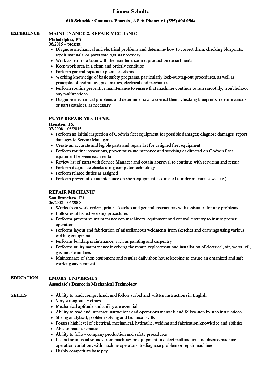 Repair Mechanic Resume Samples Velvet Jobs