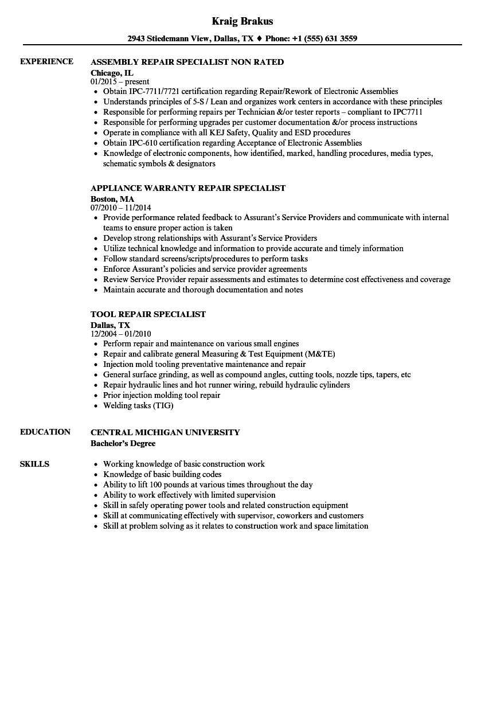 Repair Specialist Resume Samples | Velvet Jobs
