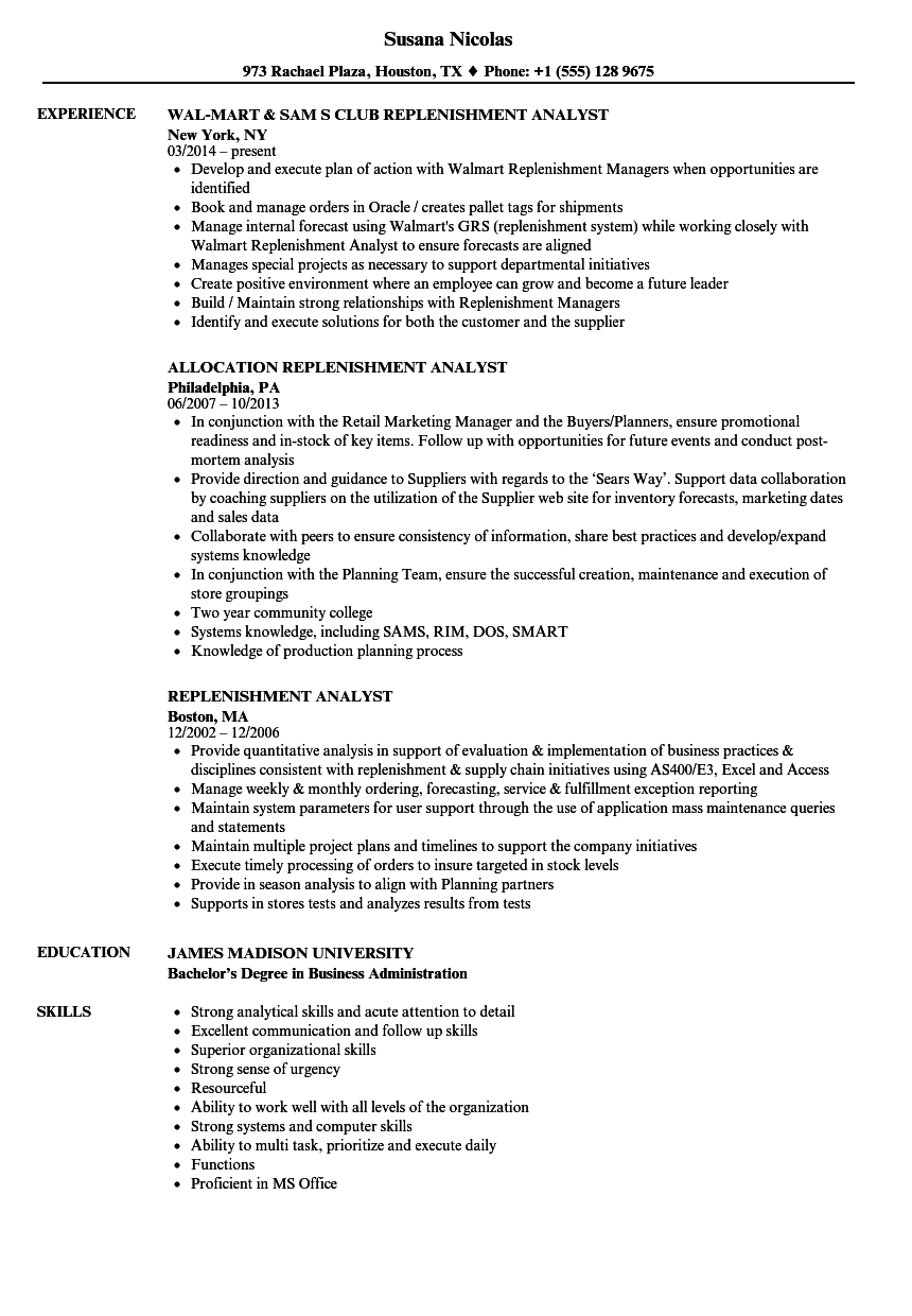 Replenishment Analyst Resume Samples | Velvet Jobs