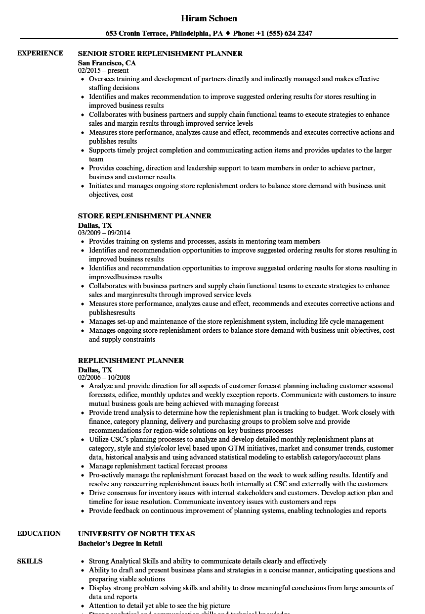 replenishment planner resume samples velvet jobs