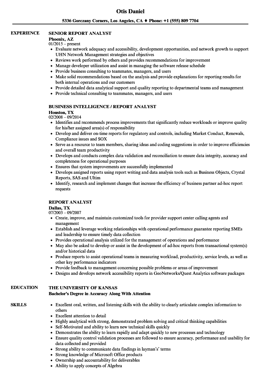Download Report Analyst Resume Sample As Image File