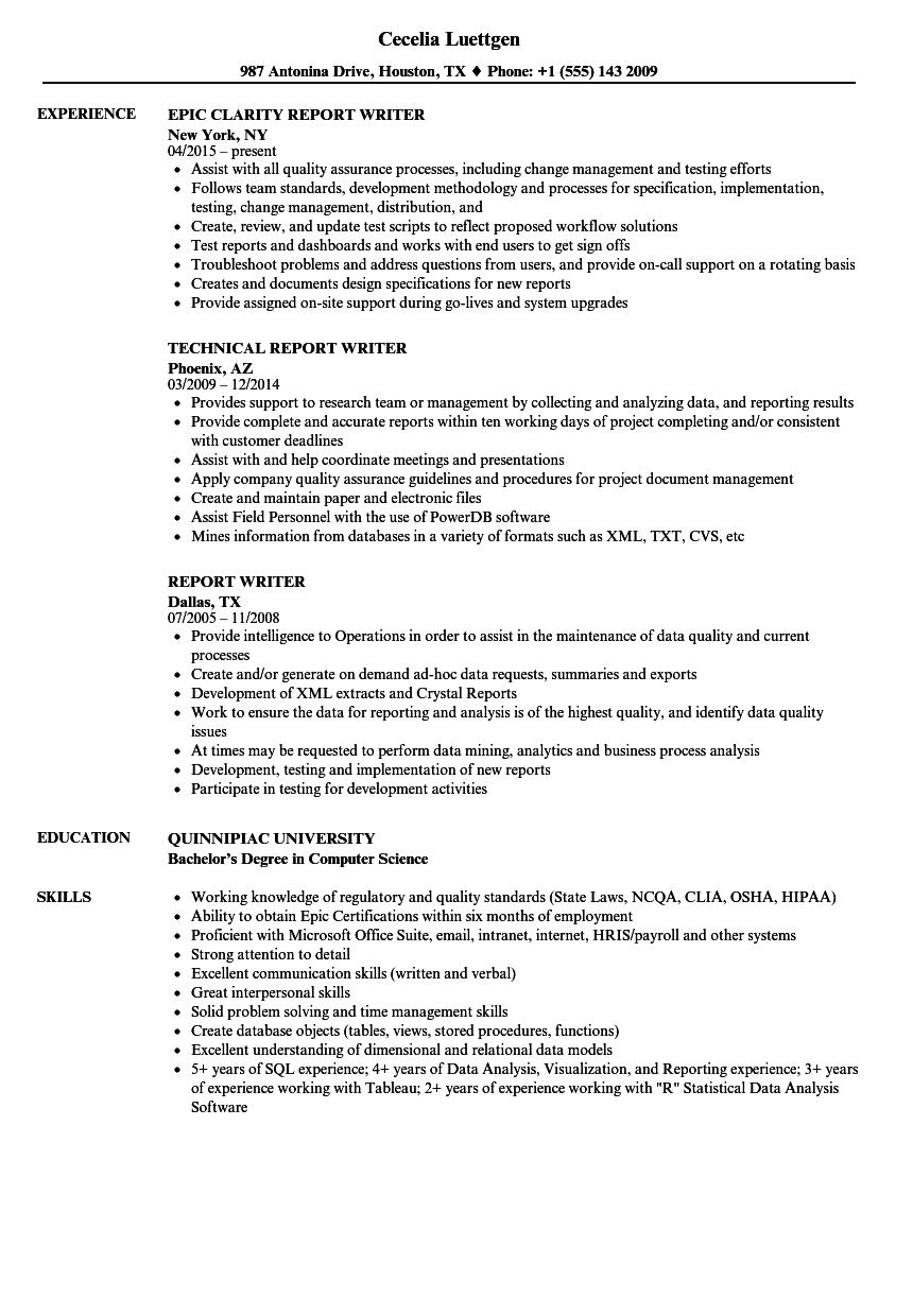 Report Writer Resume Samples | Velvet Jobs
