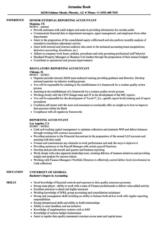 reporting accountant resume samples