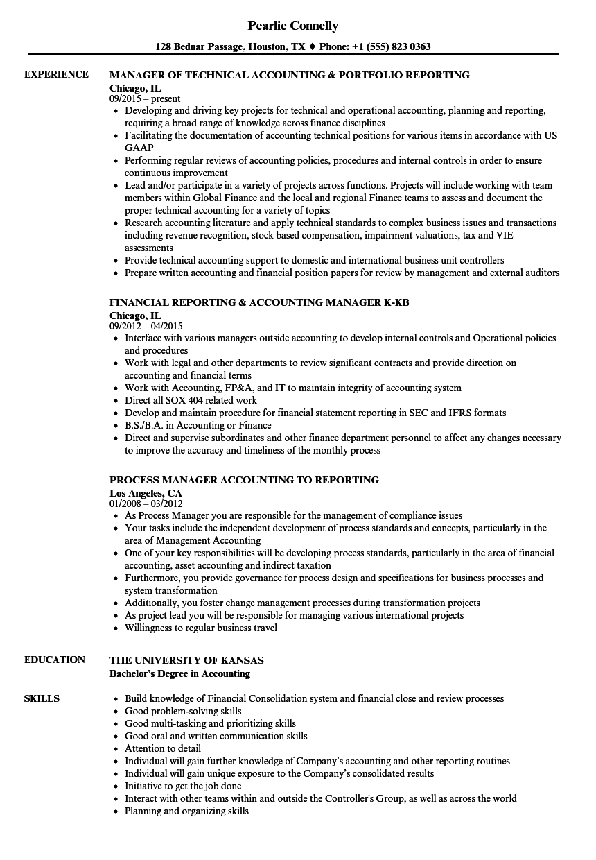 reporting accounting manager resume samples velvet jobs