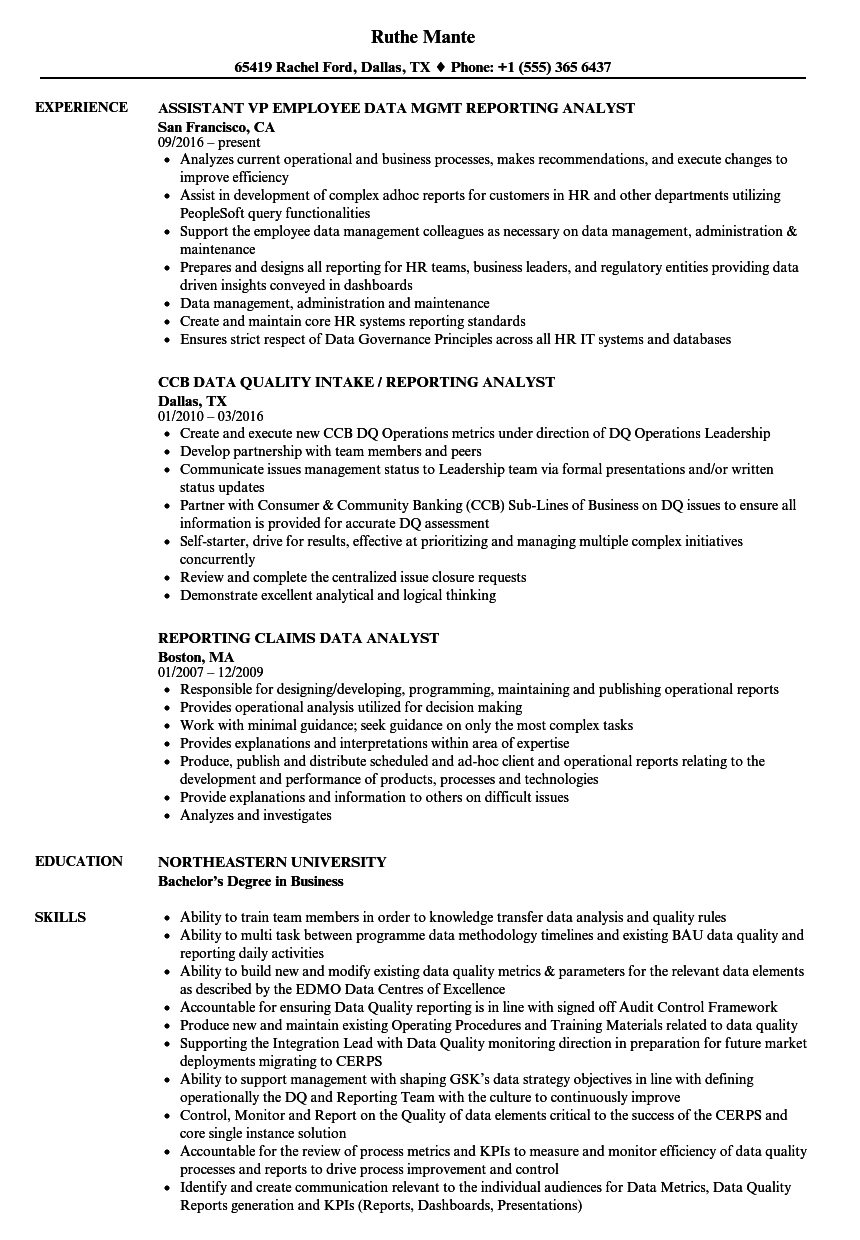 Reporting Analyst Data Resume Samples