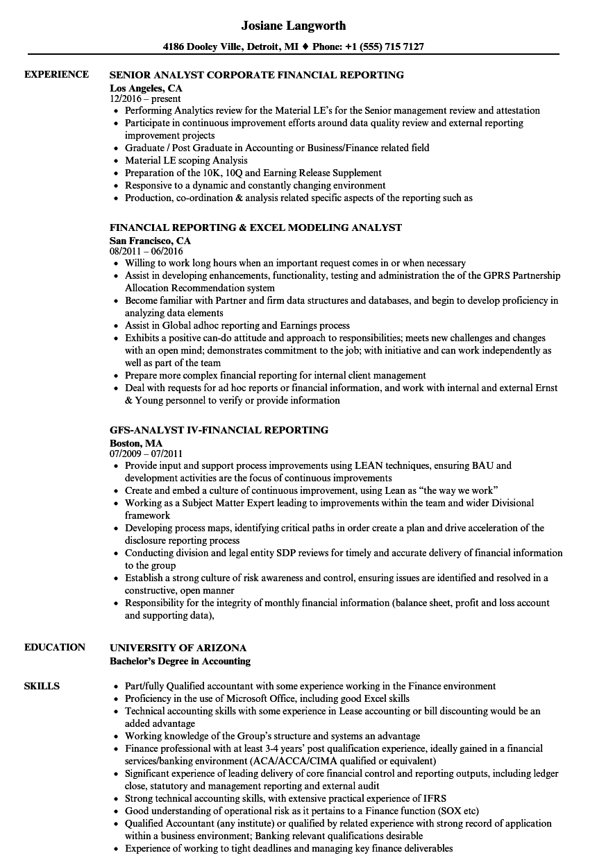 download reporting analyst financial analyst resume sample as image file
