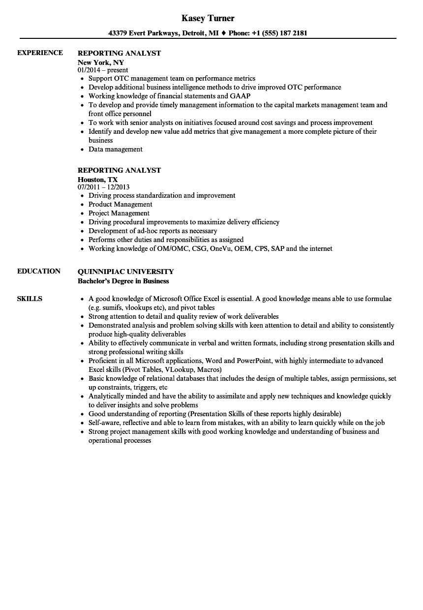 reporting analyst resume samples