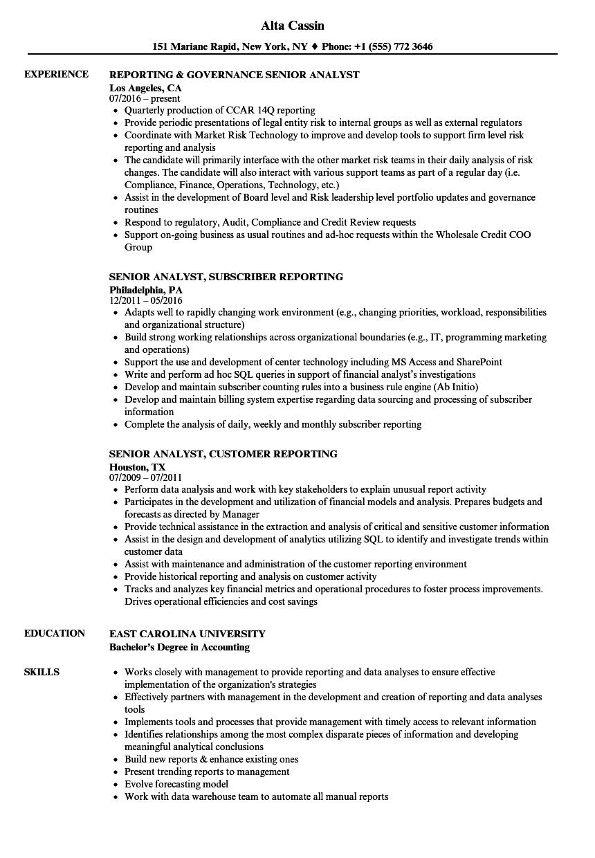 Reporting Analyst Senior Resume Samples | Velvet Jobs