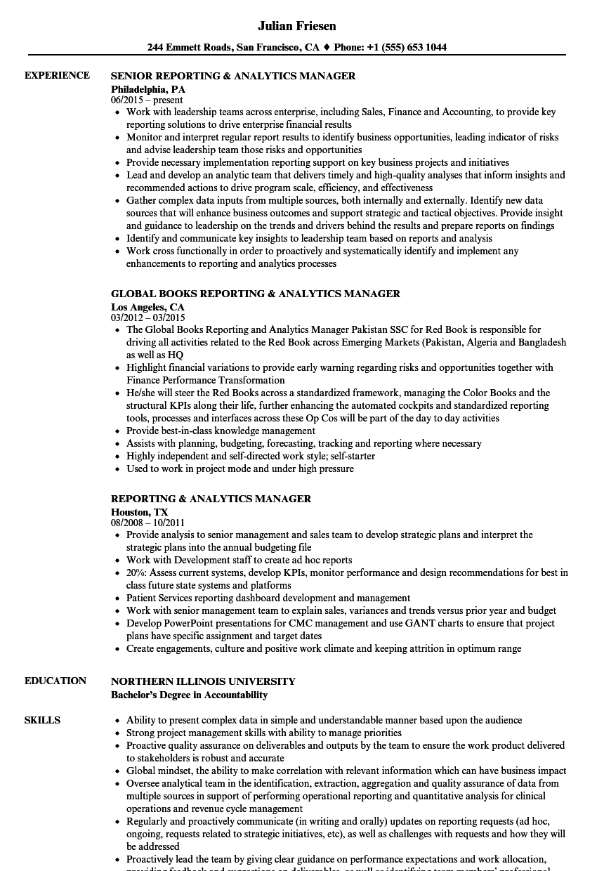 Reporting & Analytics Manager Resume Samples | Velvet Jobs