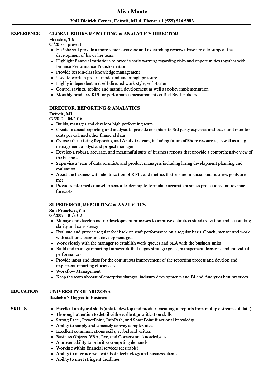 Reporting & Analytics Resume Samples | Velvet Jobs