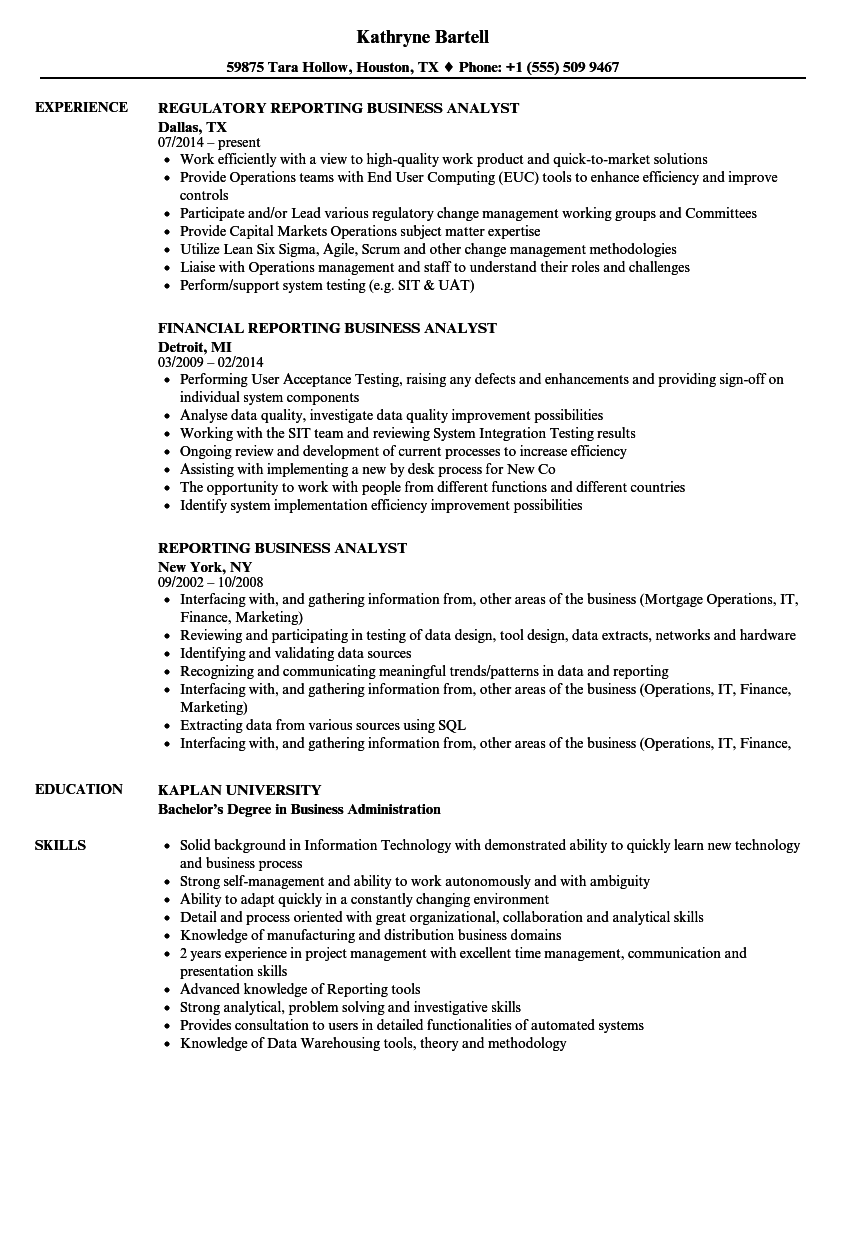 Regulatory reporting business analyst resume