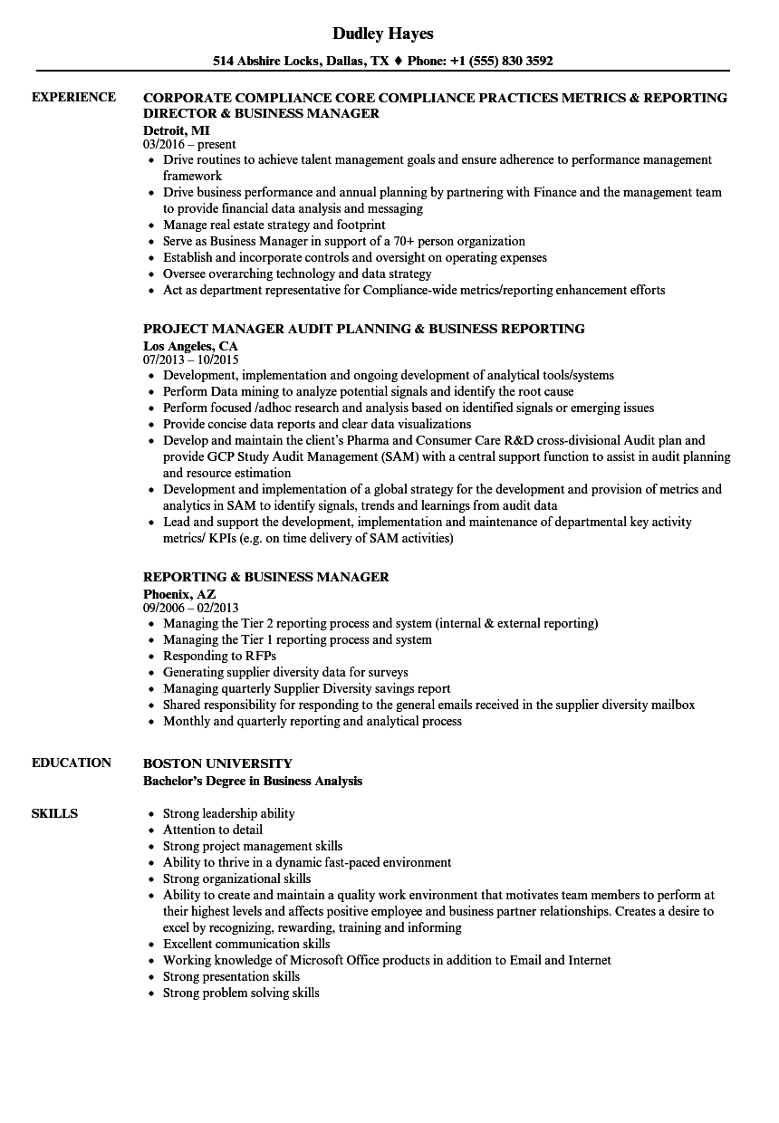 Reporting & Business Manager Resume Samples | Velvet Jobs