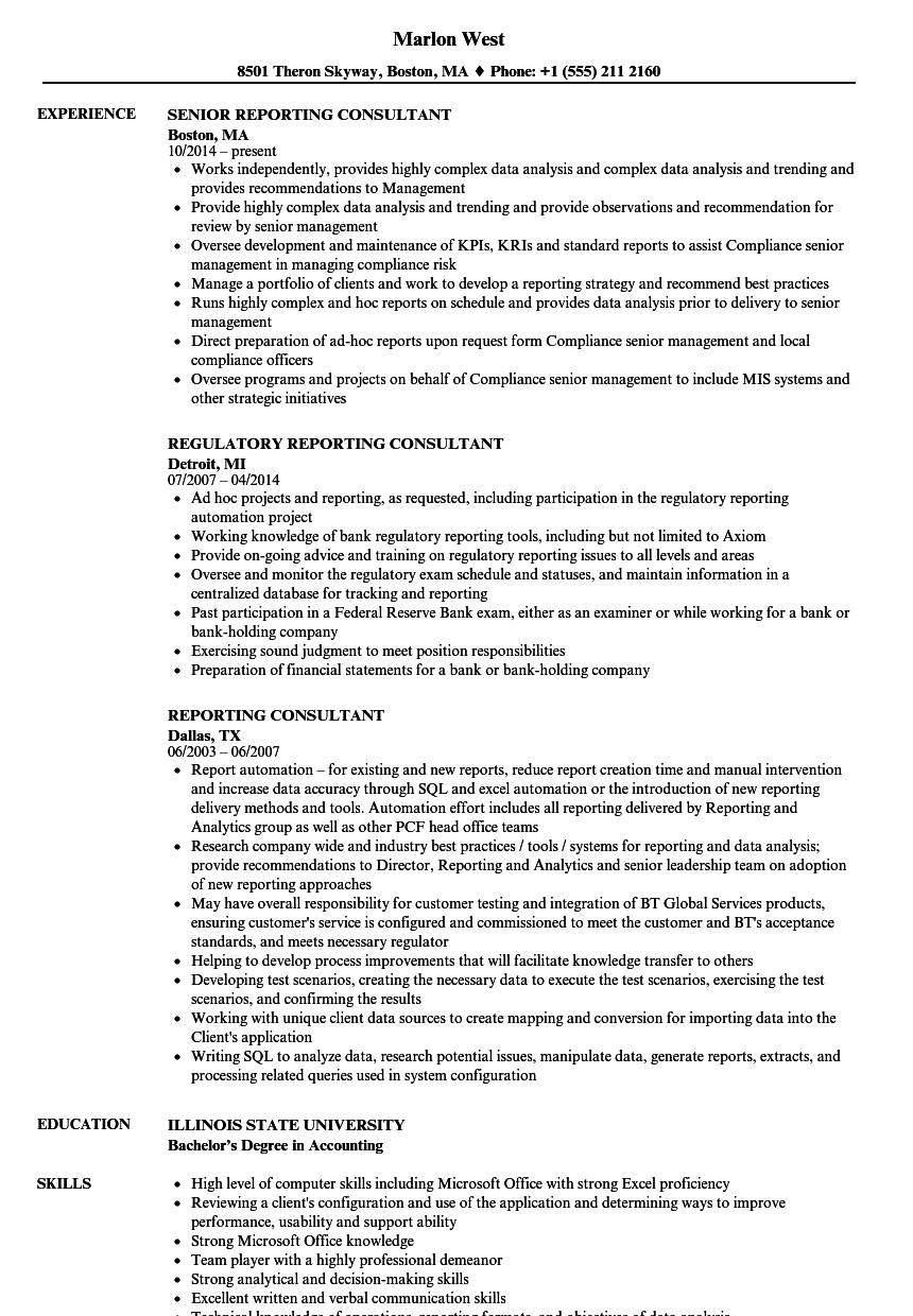 download reporting consultant resume sample as image file