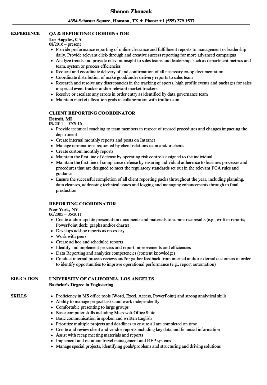 download reporting coordinator resume sample as image file