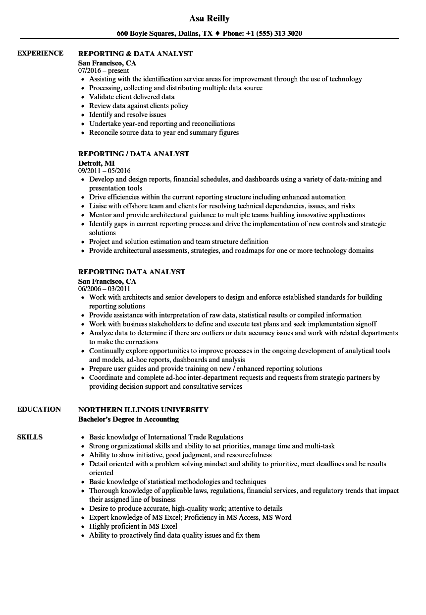 Reporting & Data Analyst Resume Samples | Velvet Jobs