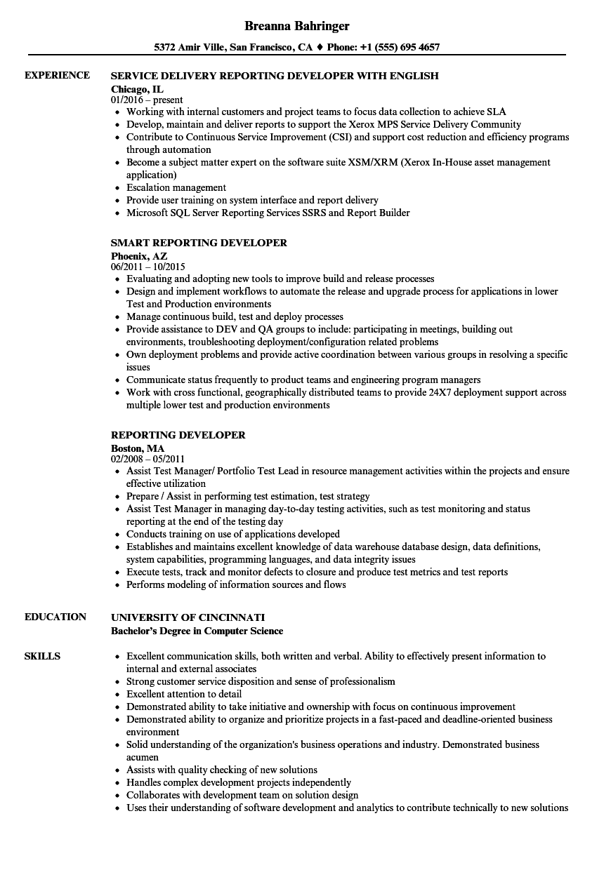 reporting developer resume samples