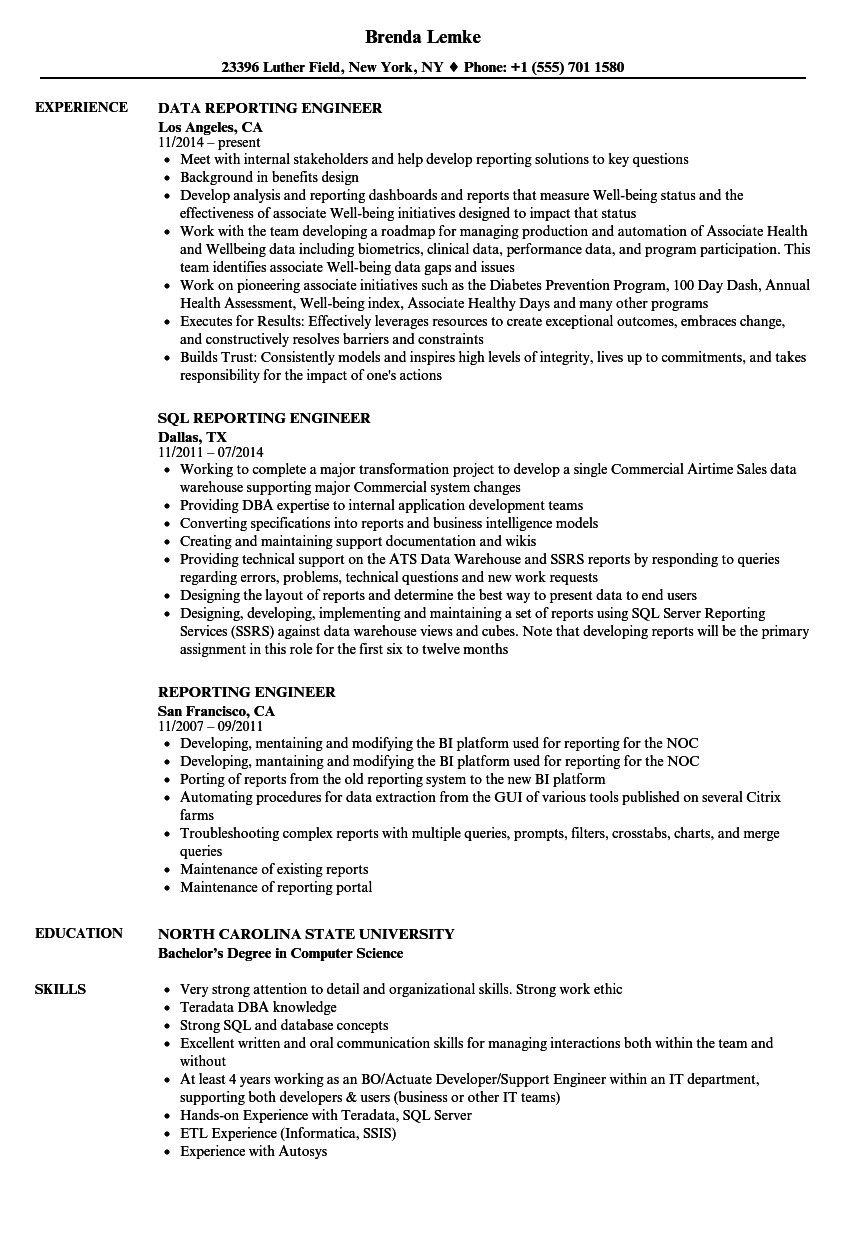 reporting engineer resume samples velvet jobs