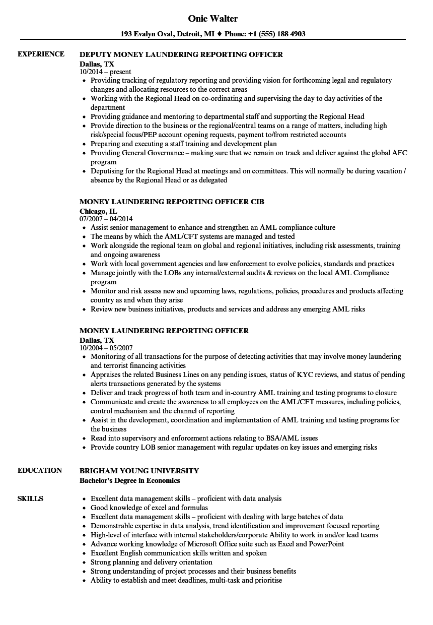 Download Reporting Officer Resume Sample As Image File