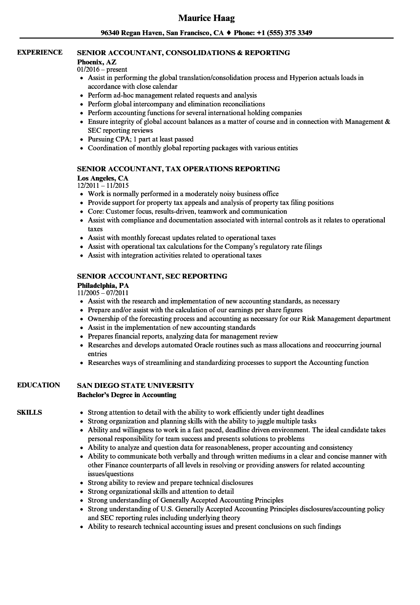 Reporting Senior Accountant Resume Samples | Velvet Jobs