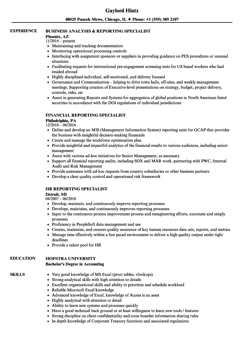 reporting specialist resume samples