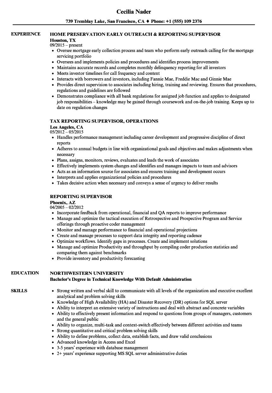 reporting supervisor resume samples velvet jobs