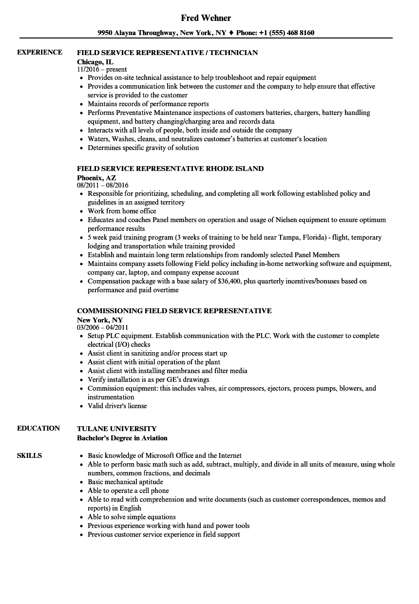 representative  field service resume samples