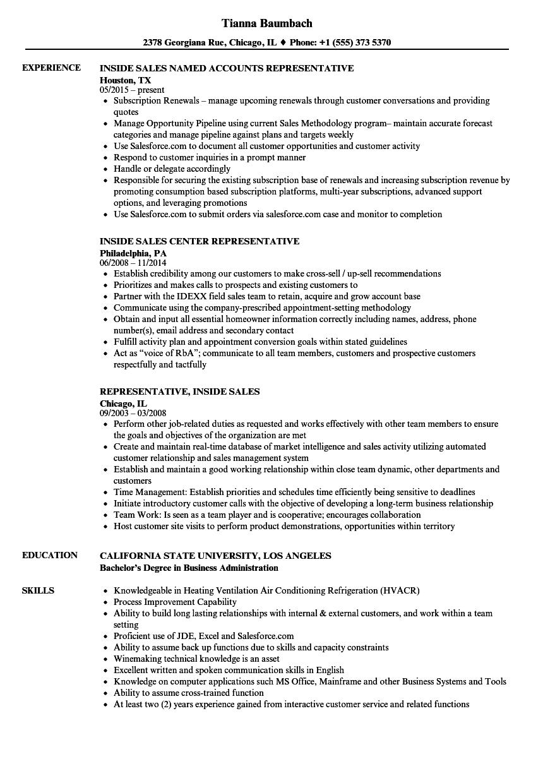 inside sales representative resume sample