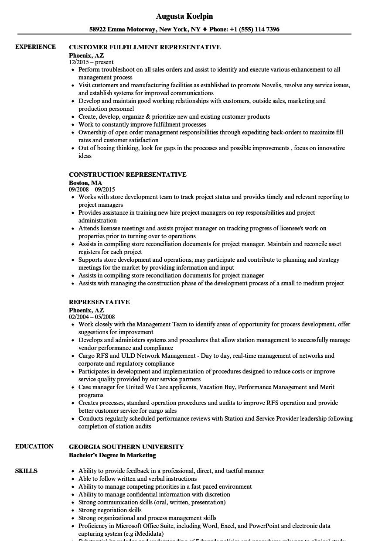 Representative Resume Samples | Velvet Jobs