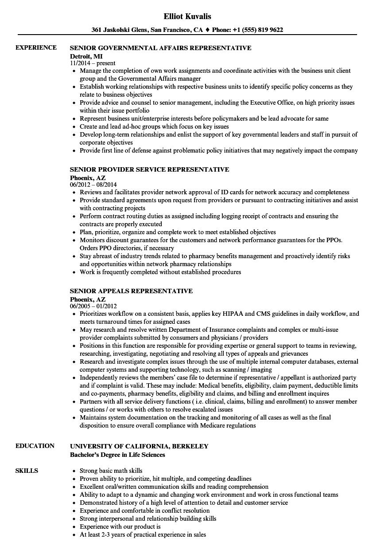 Download Representative Senior Resume Sample As Image File