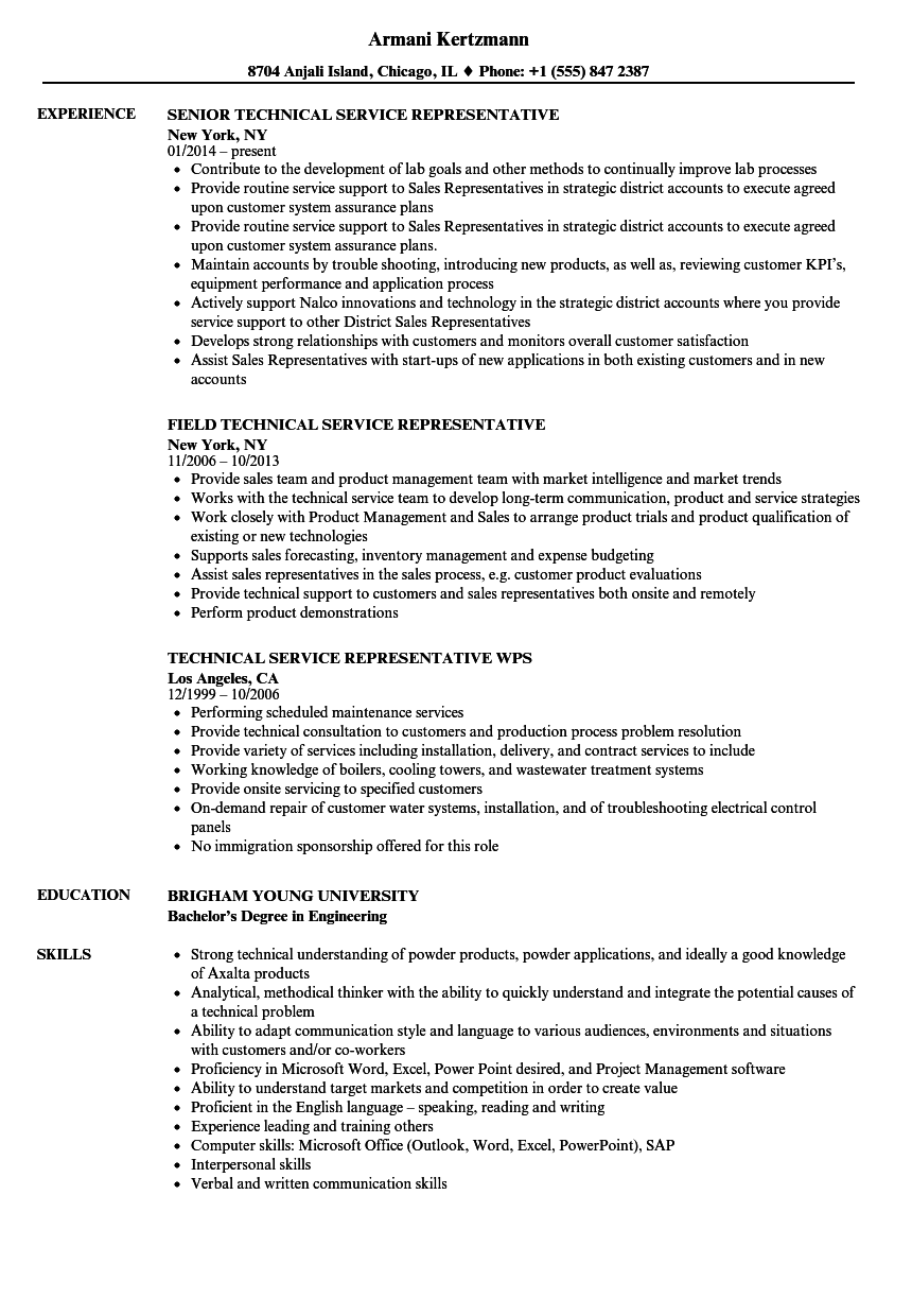 Representative, Technical Service Resume Samples | Velvet Jobs