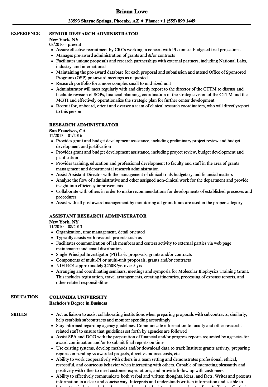 research administrator resume samples