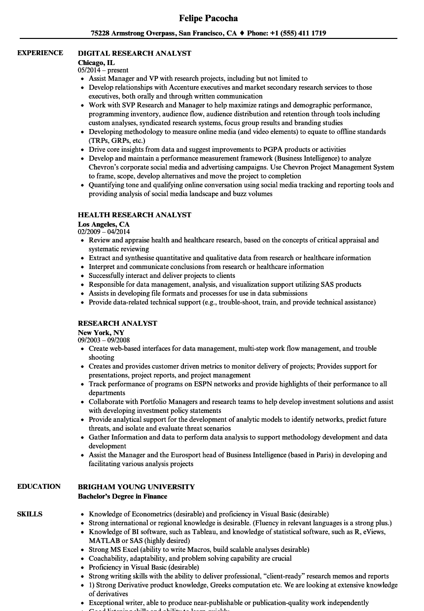 Research Analyst Resume Samples | Velvet Jobs