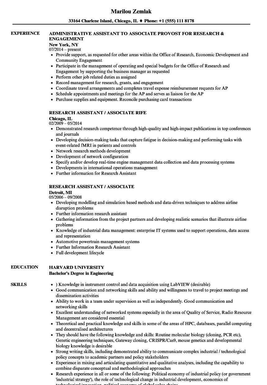research assistant    associate resume samples