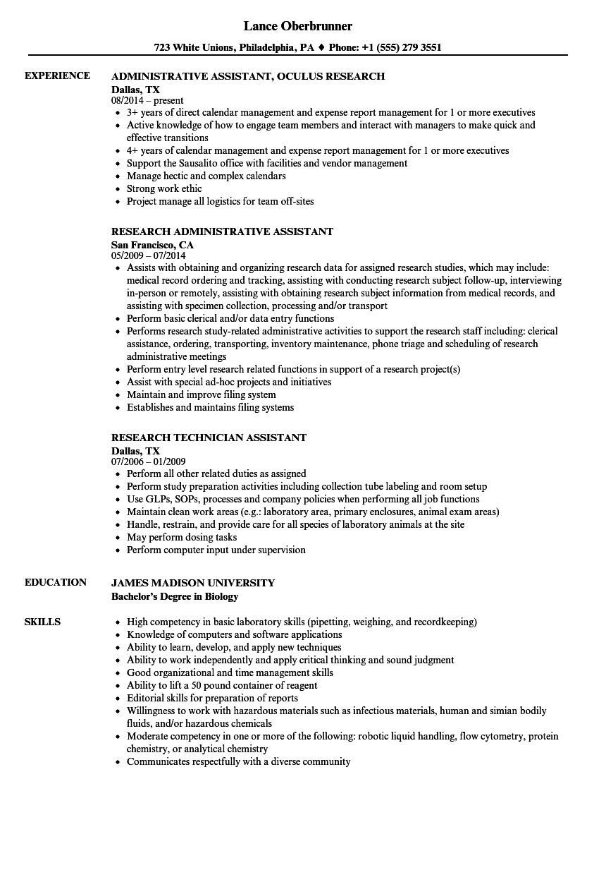 research assistant     research assistant resume samples
