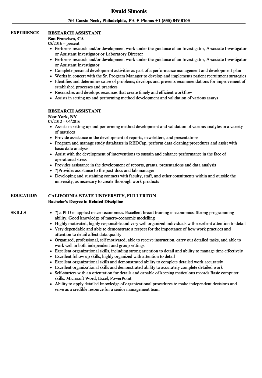 Research Assistant Resume Samples Velvet Jobs