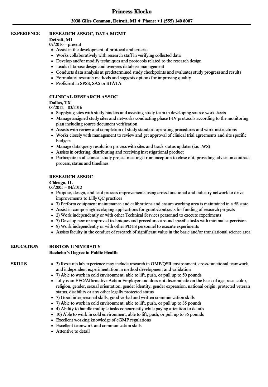 Download Research Assoc Resume Sample As Image File