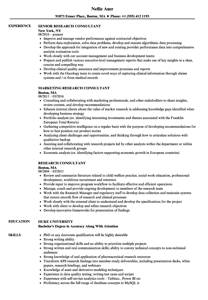 research consultant resume samples