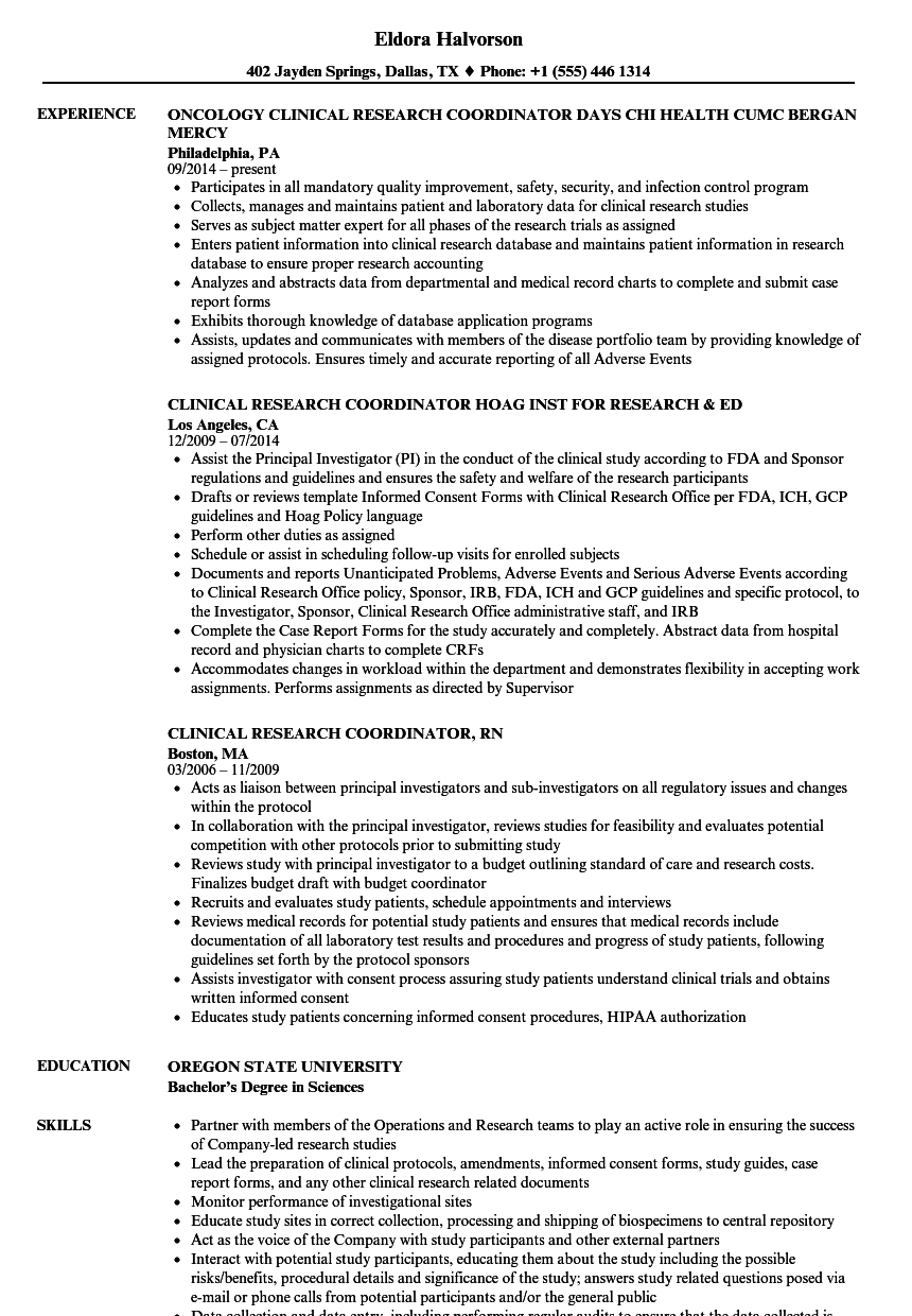 research coordinator clinical research resume samples