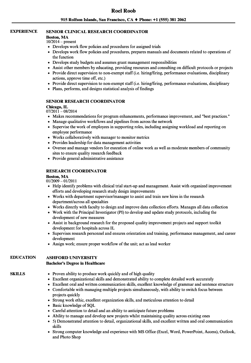 research coordinator resume samples
